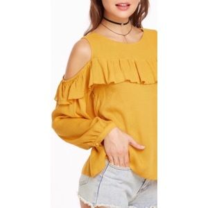 Maeve Anthropologie yellow cold shoulder top